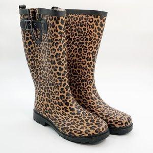 Chooka Womens Sz 7 Rain Boots Lavish Leopard - Tan